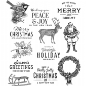 Stampers Anonymous/Tim Holtz - Cling Mount Stamp Set - Festive Overlay - CMS357